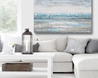 ORIGINAL Art Abstract Painting Blue Grey Wall Art Acrylic Painting Wall Decor Home Decor Modern Art Textured Coastal Teal White XL Christine