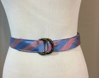 Vintage Red White and Blue Stripped Silk Belt with Antique Brass Buckle Ladies Size Small to Medium 1 & 3/8 Inches Wide 42 Inches Long
