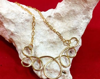 Gold Spiral Necklace on Handmade Gold Chain, One of a Kind, 18.75 Inch Chain Pendant is 2 Inches Wide and 1.25 Inches Tall