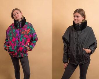 80s Reversible Puffer Jacket / Bomber Jacket / Floral Jacket / Vintage 80s Ski Jacket Δ fits sizes: S/M