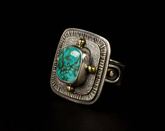 Fox Mine Turquoise Ring with 18K gold - Size 6-1/2