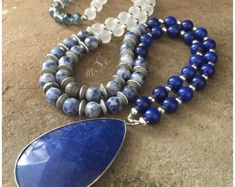 "Blue Tear Drop Gemstone Pendant Necklace - 32"" Long- Blue Jade-Denim Lapis-White Glass-Boho Chic-Bohemian- Handmade Jewelry-mSs - Gemstone"