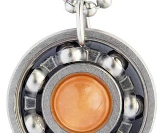 Orange Malaysian Jade Roller Derby Skate Bearing Pendant Necklace