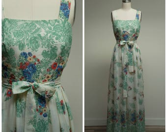 Vintage 1960s Dress • Floral and Lace • Border Print Late 60s Maxi Dress by Miss Elliette Size Small