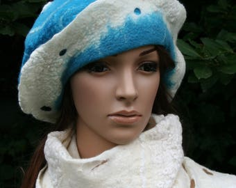 """Felt hat and lace white and turquoise """"Angelic and old lace..."""""""