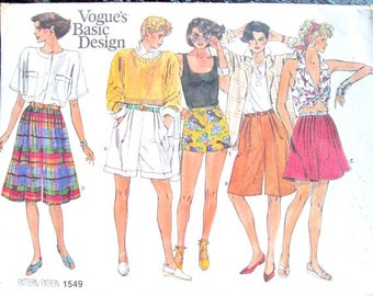 Shorts Skort Culottes Gaucho Pants Short Shorts pleated fly front pockets long shorts sewing pattern vintage 80s Vogue 1549 women medium 12