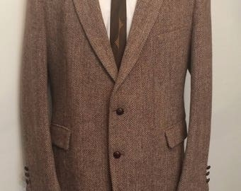 Vintage MENS Harris Tweed Man In Wool for College Hall brown herringbone wool jacket, sport coat or blazer