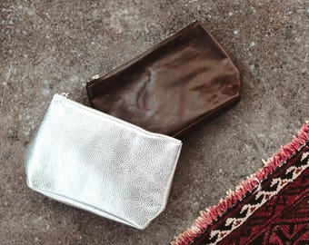 REBECCA Silver Leather Clutch. Silver Leather Pouch. Metallic Leather Cosmetic Bag. Leather Makeup Case