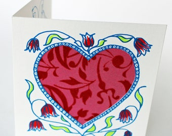 Unique Valentines greetings Card, hand printed with hearts, red flowers, love birds and decorative paper,blank for your message
