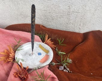 White w/Brights Incense Holder Ceramic Catchall Dishes