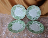 The Florentine-Green Gold Trim by Johnson Brothers Saucers LOT OF 4 set England discontinued *eb