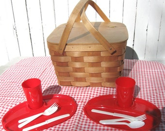 Vintage Woven Picnic Basket with Plates, Utensils, Cups for 2 and Red + White Checkered Tablecloth