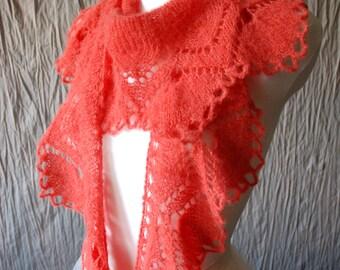 Nectarine Hand Knit Shawl, Grenadine Knit Scarf, Knit Lace Shawl, Lace Knit Scarf, Crescent Shape Knit Shawl,