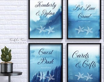 Wedding/Reception Signs (4 Piece Print Collection) - Ocean Blues