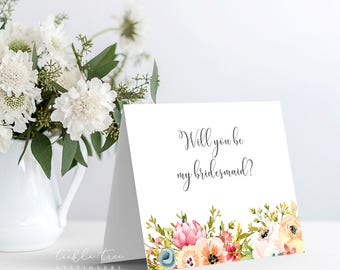 Printable Folded Note Card - Bridal/Wedding Party - Will You Be My Bridesmaid?