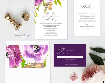 Semi Custom Wedding Invitation Suite - Peony Love (Style 13764)