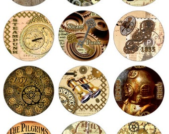 Steampunk Printable 1-Inch Circles / Bottlecap Images / Vintage Sepia Heart, Gears, Clock, Skull, Goggles, Steam Parts / Instant Download
