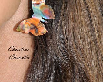 Colorful - Flame Painted Copper - Butterfly Earrings - Butterfly Jewelry - Copper Jewelry - Copper Earrings - Christine Chandler - Butterfly