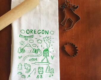 Flour Sack Tea Towel - Oregon  - Hand Printed Original illustration - Mountains, Portland, PNW, illustration