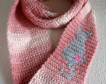 Kitty Cat Scarf. Pink striped, long infinity scarf with a gray cat silhouette and pink heart. Sitting cat, circle crochet scarf.