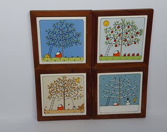Lillian Vernon Decorative Tiles of the Seasons Vintage 1984 set of 4
