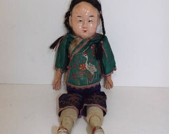 Vintage 1930s 1940s Chinese papier mache large doll in original embroidered clothes