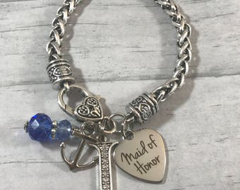Gift for Maid of Honor. Gift from Bride. BRACELET. Bridesmaids Gifts. Matron of Honor. Wedding Party Gifts. Nautical Theme Wedding. Anchor.