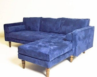 Barbie Sofa 1:6 Scale Blue 'Velvet' Tufted sectional couch for Blythe Momko Silkstone Playscale