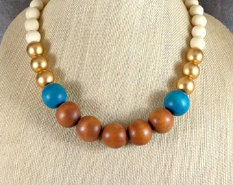 Wood Necklace, Statement Necklace, Chunky Necklace, Gold, White, Turquoise, Wood Bead Necklace, Boho, Beaded Necklace, Bohemian