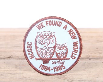 Vintage Girl Scout Patch / 1980's We Found A New World 1984-1985 Patch / Owl Patch / Girl Scout Patch / Boy Scout Patch / Grunge Patch