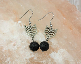 Arrow Essential Oil Earrings - Aromatherapy Earrings - Diffuser Earrings - Lava Stone Earrings - Arrow Earrings - Chevron Direction Jewelry