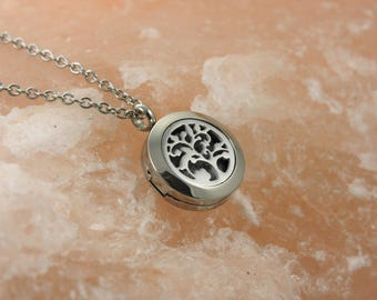 Tree Essential Oil Necklace - Aromatherapy Necklace - Diffuser Necklace - Stainless Diffuser - Tree Necklace - Tree Diffuser-Dainty Diffuser
