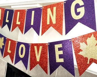 Falling in Love Banner, Fall Wedding Banner, Fall Banner, Autumn Bridal Shower, Fall Bridal Shower Banner, Purple Orange and Gold, Assembled