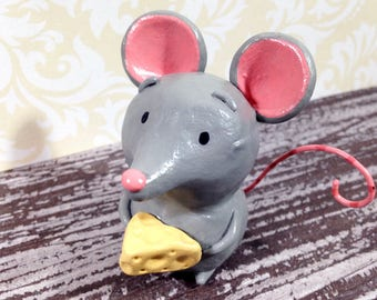 Lover of Cheese - Mouse Figurine - One of a Kind Art Sculpture