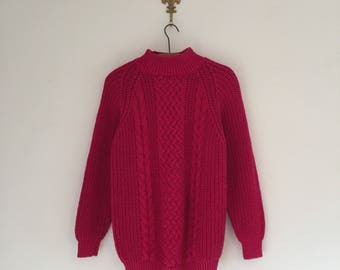 Vintage 80's Raspberry Chunky Knit Sweater S