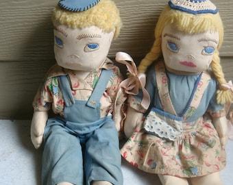 Vintage Folk Art Handmade HandStitched Cloth boy/girl Dolls