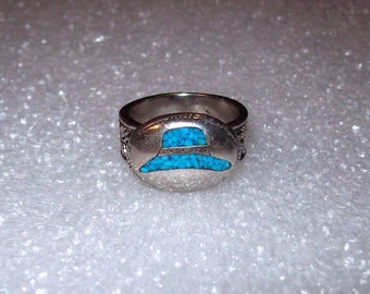 Vintage '92' Stainless or Silver Plated Turquoise chip inlay Hat ring size 8