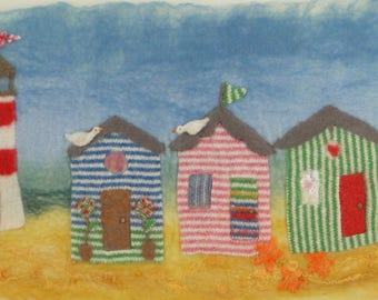 Felt Making Kit to make Beach Hut picture with Lighthouse and online tutorial using original lambswool stripy fabric