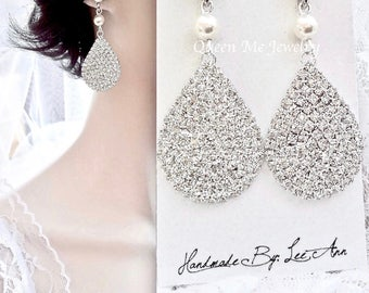 Crystal teardrop earrings, Wedding earrings, Brides earrings, Crystal chandelier earrings, Pearl earrings, Crystal teardrop earrings,