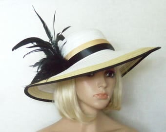 Wide Brim White Hat - Black Feathers - Maize and Black Trim