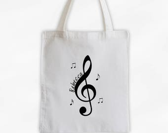 Treble Clef and Music Notes Cotton Canvas Personalized Tote Bag - Custom White Tote Bag for Music Lovers, Band Members  (3028)
