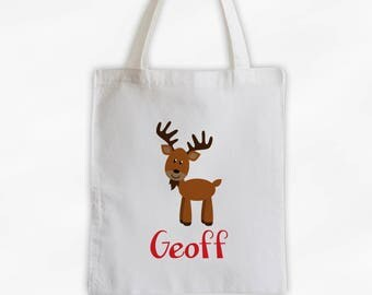Personalized Moose Canvas Tote Bag - Forest Animal Custom Travel Overnight Bag for Boys or Girls - Reusable Tote (3042)