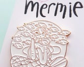 MERMIE enamel pin mermaid soft enamel rose gold pin