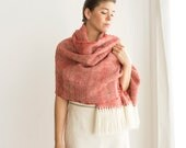Handwoven pashmina shawl Red merino wool, Holiday's gifts for man / woman, Christmas presents