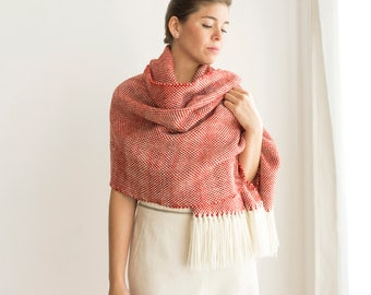 Handwoven pashmina shawl Red merino wool, Mexico shawl blanket, Holiday's gifts for man / woman, Christmas presents