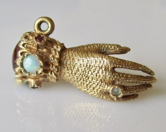 9ct Gold Hand in Glove Gem Set Charm or Pendant