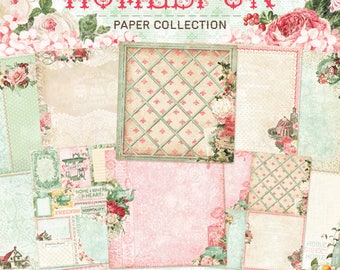 Blue Fern New Release Homespun Collection 12 x 12 Scrapbook Paper Pad Full Collection Pack, 2-Each Of 10 Designs, 20 Double Sided