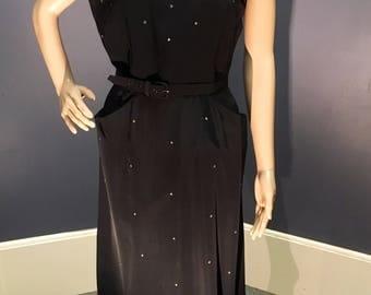 1950s Black Taffeta and Rhinestone Dress Size Large by Cordette of CA