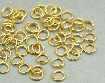 Jump Rings Gold Open 200 pieces 5mm 21 gauge BS00205JRG