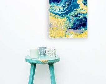 Yellow & Blue Canvas Painting - 'Rocks and Waves' Blue and Yellow Abstract Expressionist Fluid Painting on Canvas - Small Canvas Picture